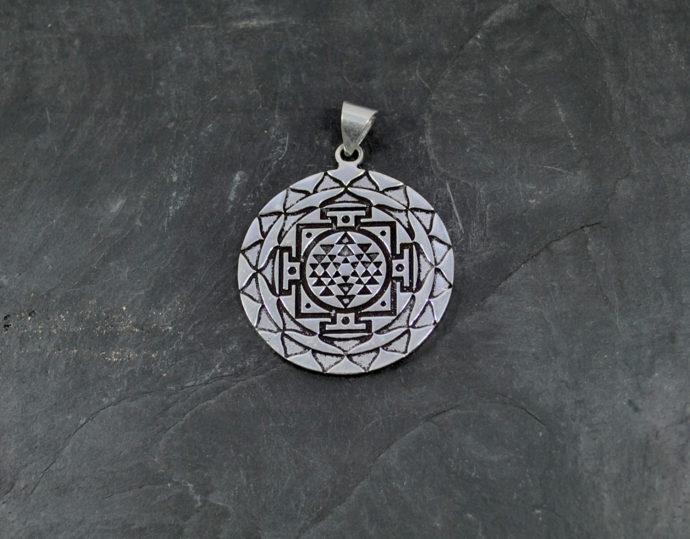 silver yantra pendant