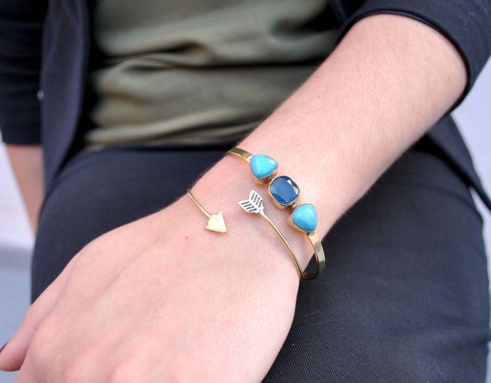 three gemstones bracelet model