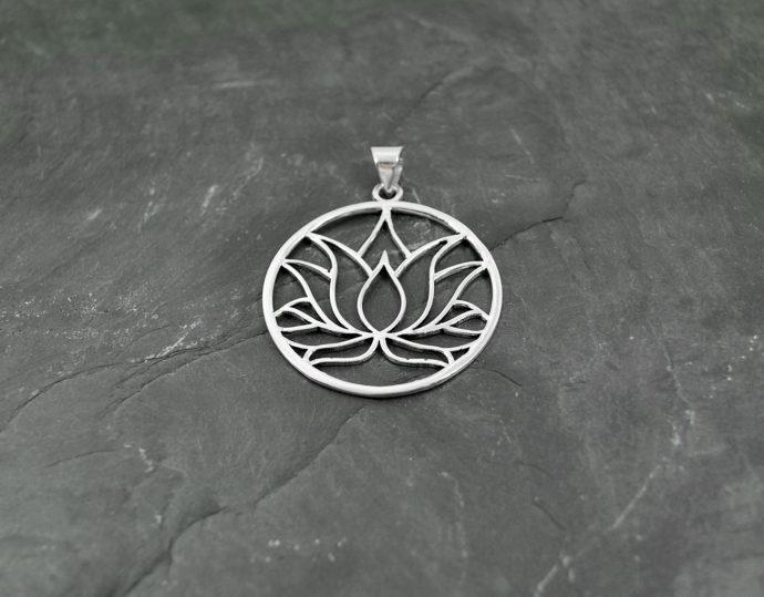 silver loto pendant