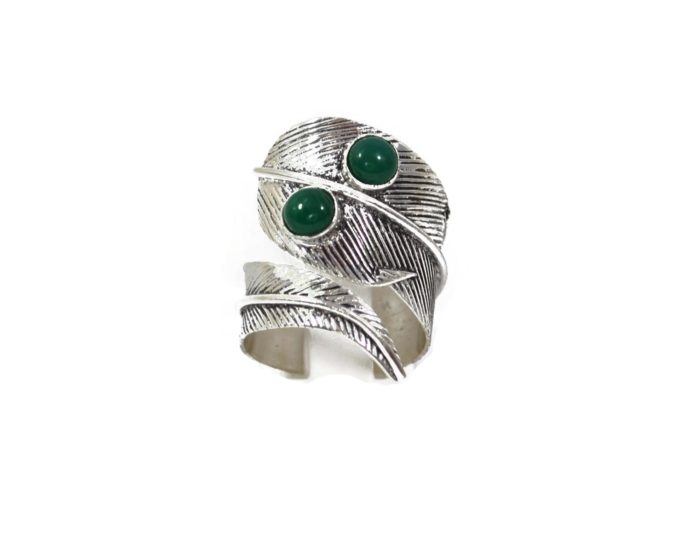 feather silver ring
