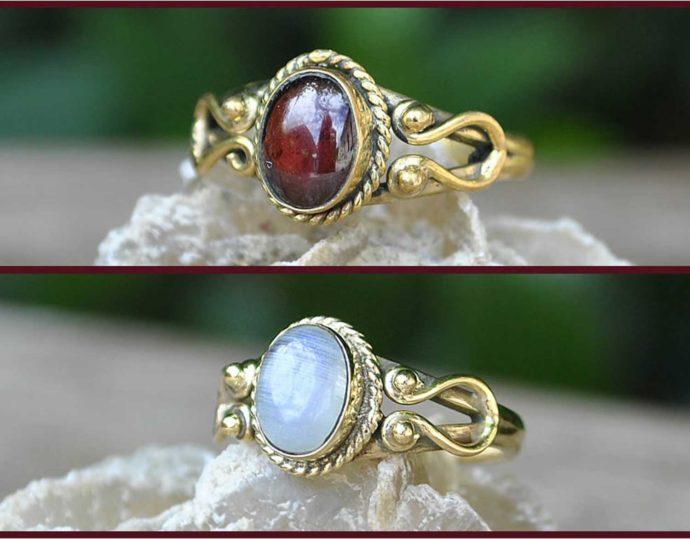 anillo laton piedra