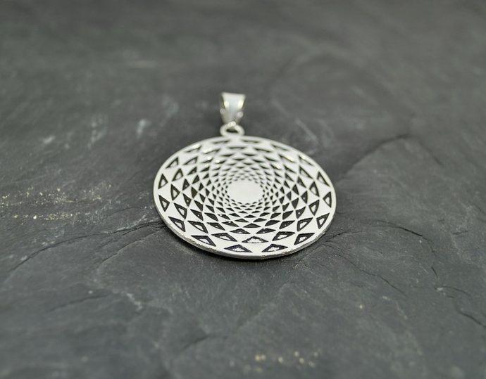 mendala silver pendant