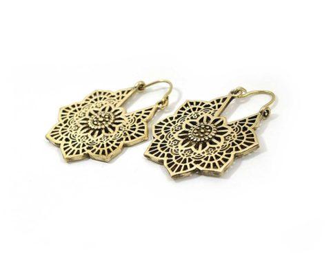 flower brass earrings